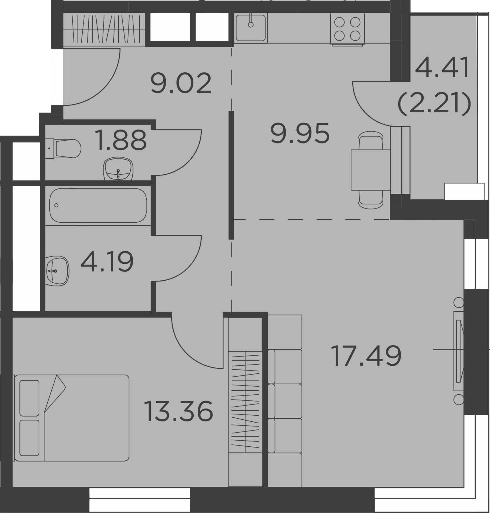 2-к.кв, 58.1 м², 16 этаж