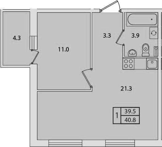 2Е-к.кв, 40.8 м², 2 этаж