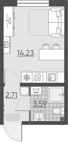 Студия, 20.53 м²– 2