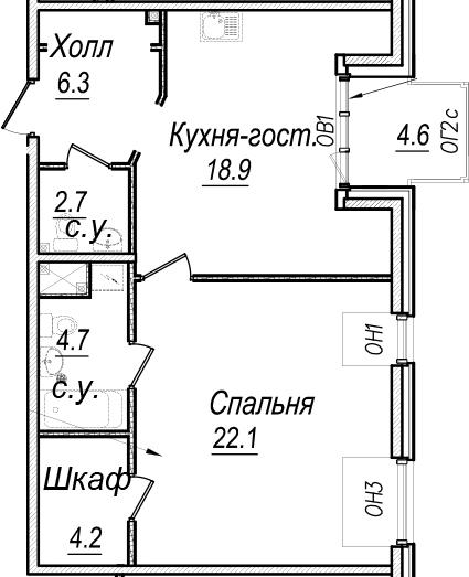 2Е-комнатная, 67.6 м²– 2