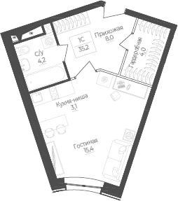 Студия, 35.2 м²– 2