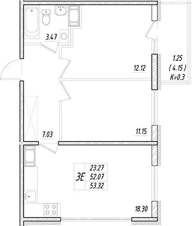 3Е-к.кв, 52.07 м²
