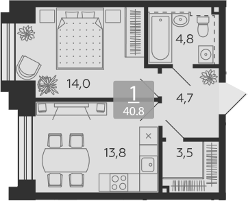 2Е-к.кв, 40.8 м², 18 этаж