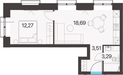 2Е-к.кв, 37.76 м², 2 этаж