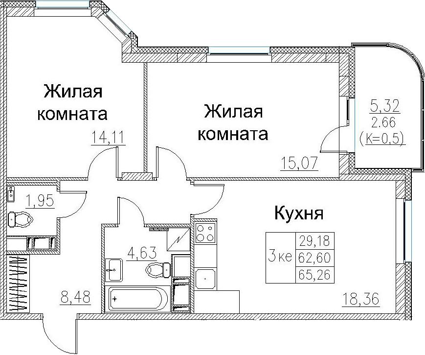 3-к.кв (евро), 67.92 м²