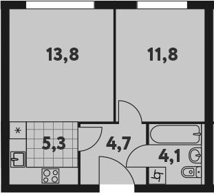 2-к.кв (евро), 39.7 м²