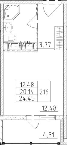 Студия, 22.38 м², от 16 этажа