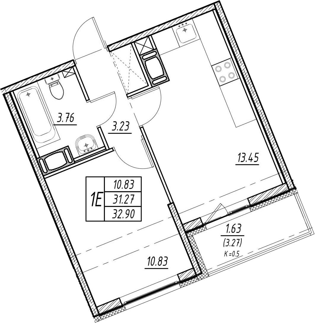 2-к.кв (евро), 34.54 м²