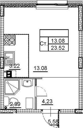 Студия, 23.52 м²– 2