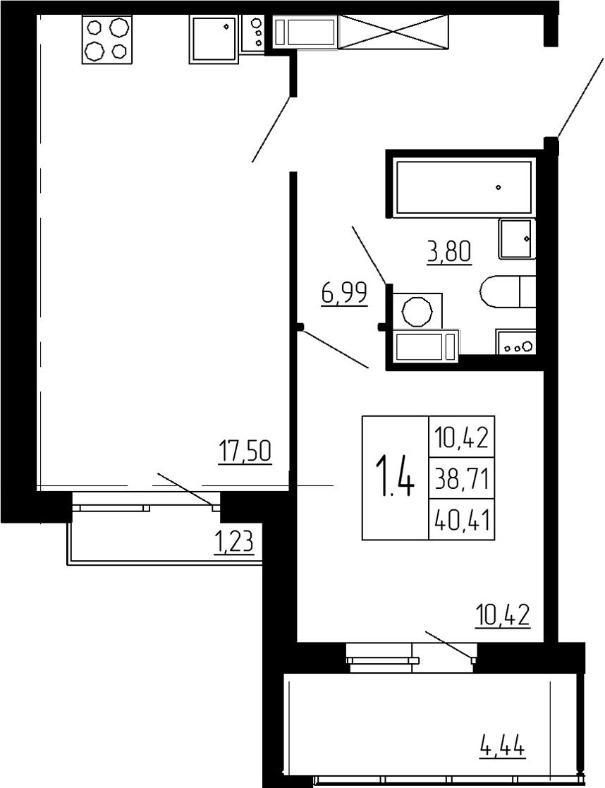 2Е-к.кв, 38.71 м², от 3 этажа