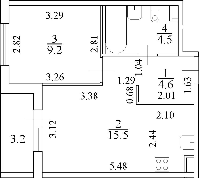 2Е-комнатная, 35.4 м²– 2