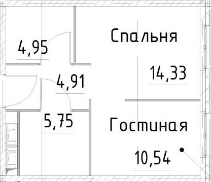 1-к.кв, 40.47 м², от 17 этажа