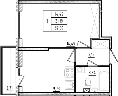 1-комнатная, 31.19 м²– 2