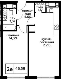 2Е-комнатная, 46.59 м²– 2