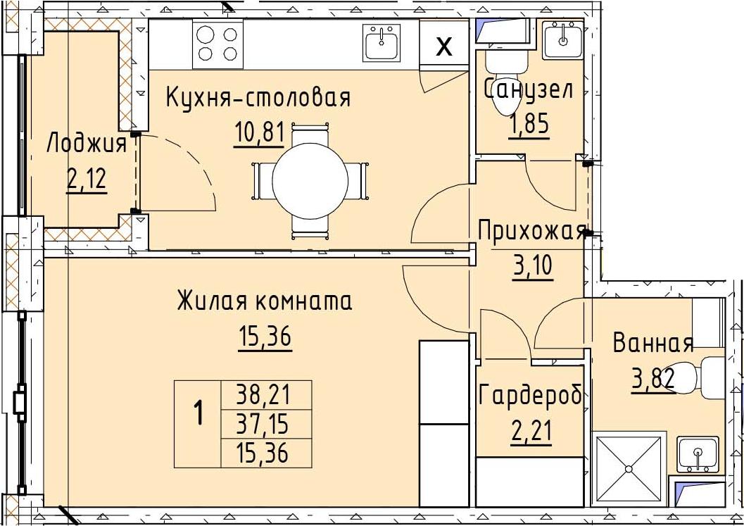 1-к.кв, 39.29 м²