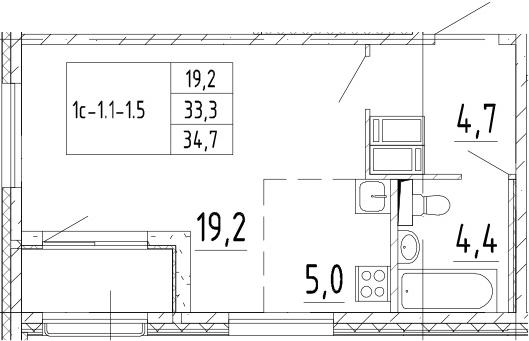 Студия, 34.7 м², от 3 этажа