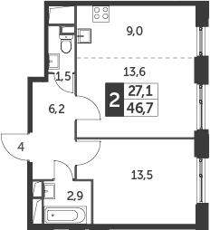 2-к.кв (евро), 46.7 м²
