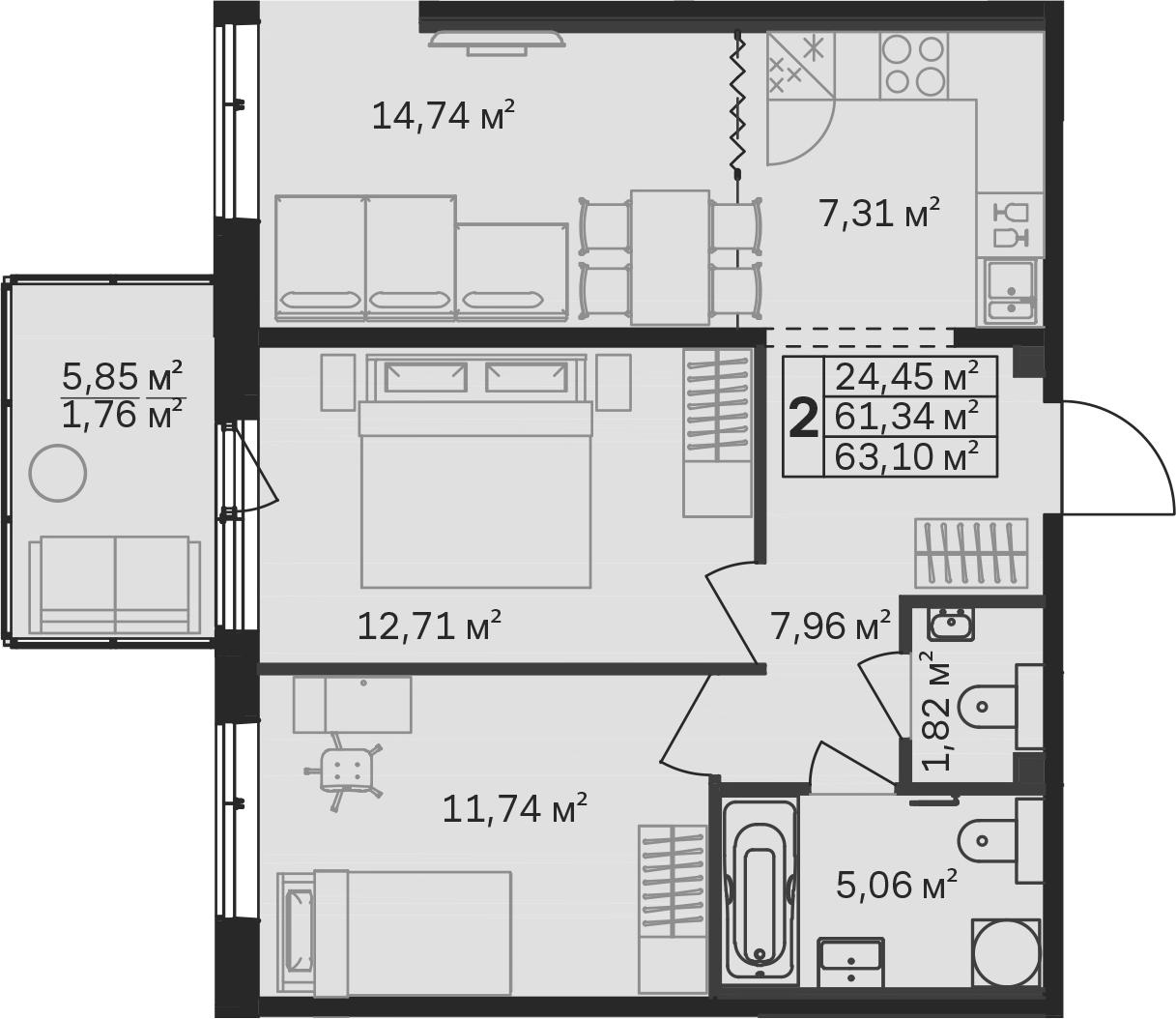 3-к.кв (евро), 67.21 м²