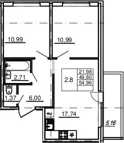 3Е-комнатная, 49.8 м²– 2