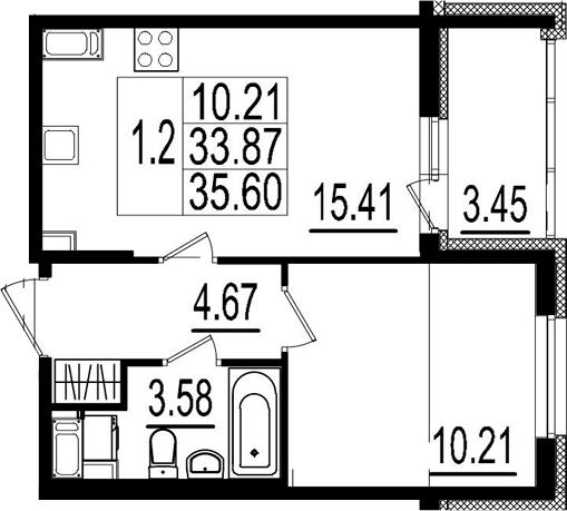 2Е-к.кв, 33.87 м², 3 этаж