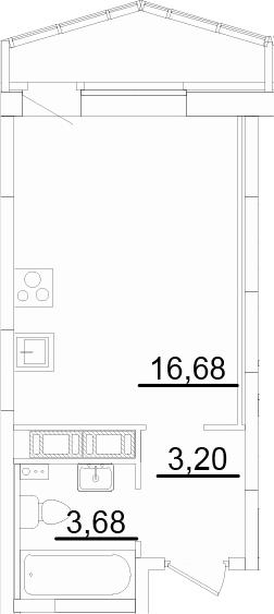 Студия, 24.27 м², 17 этаж