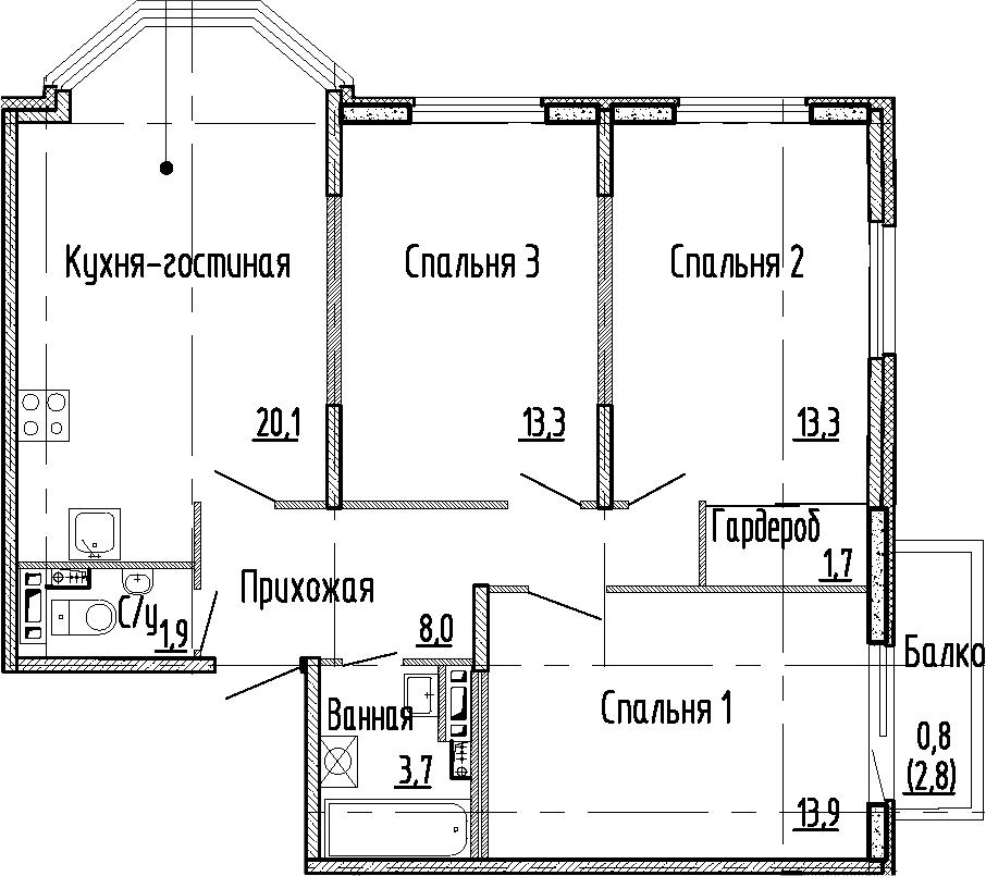 4Е-к.кв, 75.9 м², 3 этаж