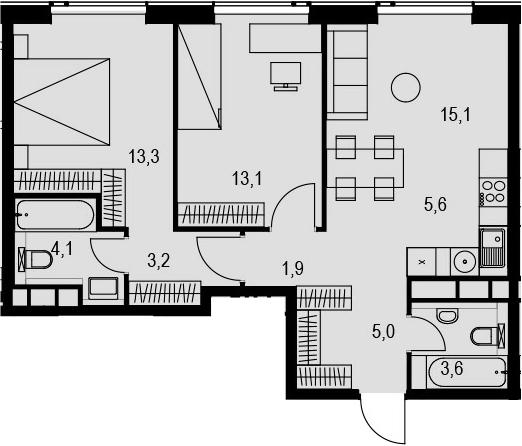 3Е-к.кв, 64.9 м², 29 этаж