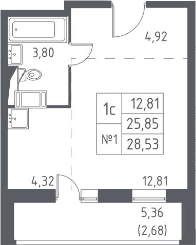 Студия, 28.53 м², от 13 этажа