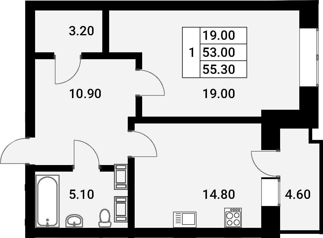 1-к.кв, 57.6 м²