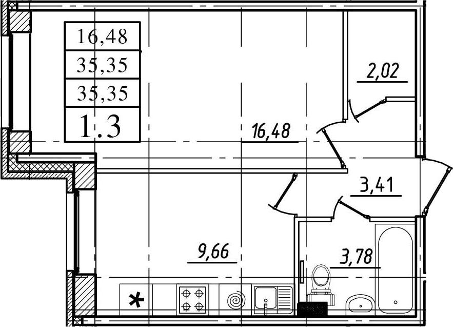 1-комнатная, 35.35 м²– 2