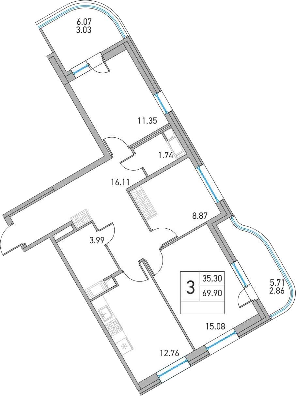 3-к.кв, 81.68 м²