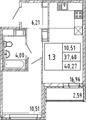 2Е-комнатная, 37.68 м²– 2