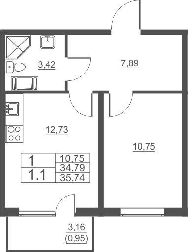 1-комнатная, 35.74 м²– 2