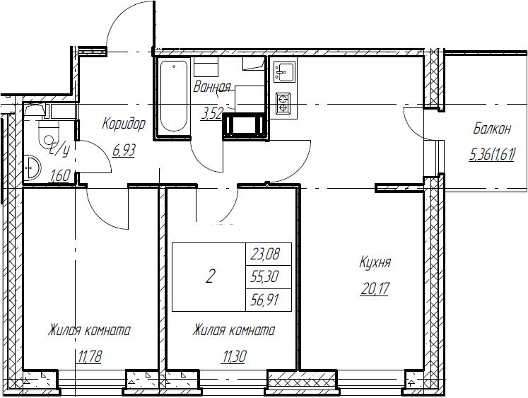 3Е-комнатная, 56.91 м²– 2
