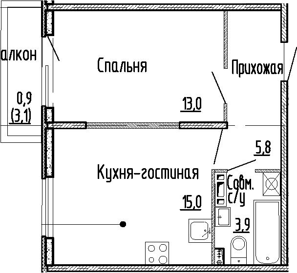 2Е-к.кв, 37.7 м², 3 этаж