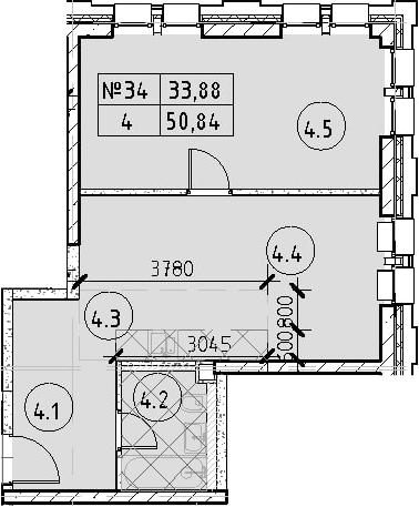 2Е-комнатная, 50.84 м²– 2