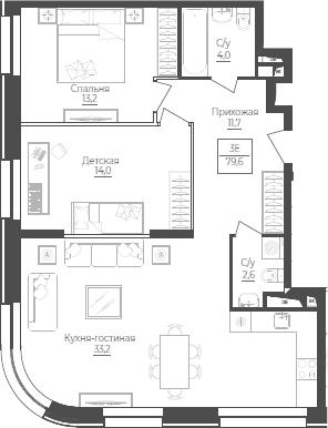3Е-комнатная, 79.6 м²– 2
