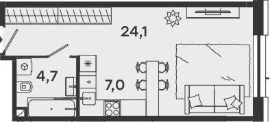 Студия, 35.8 м²– 2