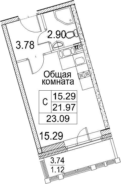 Студия, 23.09 м²– 2