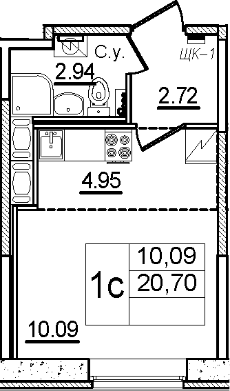 Студия, 20.7 м²