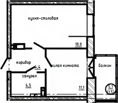 1-комнатная, 40.3 м²– 2