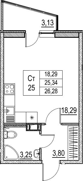 Студия, 26.28 м²