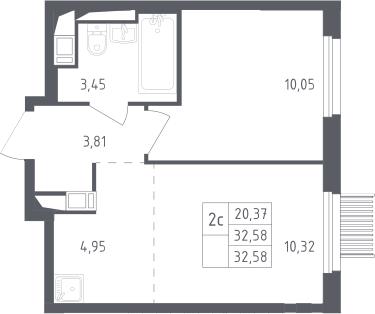 2Е-комнатная, 32.58 м²– 2