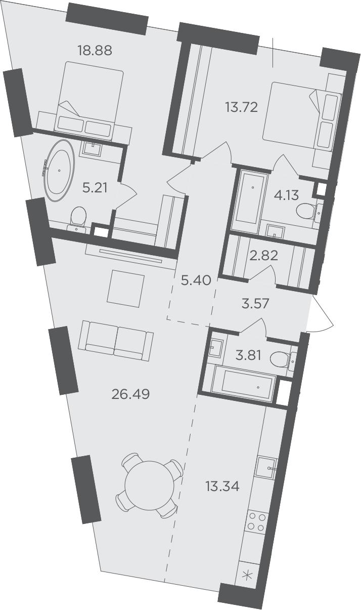 3Е-комнатная, 97.37 м²– 2