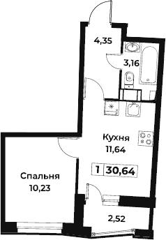 1-к.кв, 30.64 м², 2 этаж