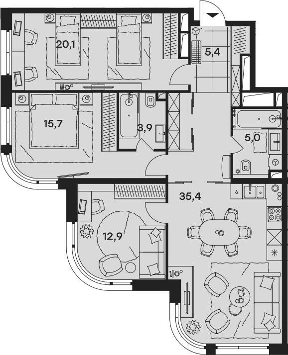 4Е-комнатная, 98.4 м²– 2