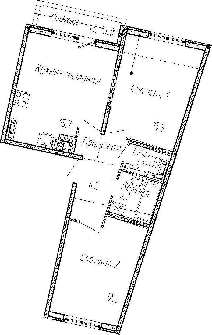 3Е-к.кв, 53.1 м², 4 этаж