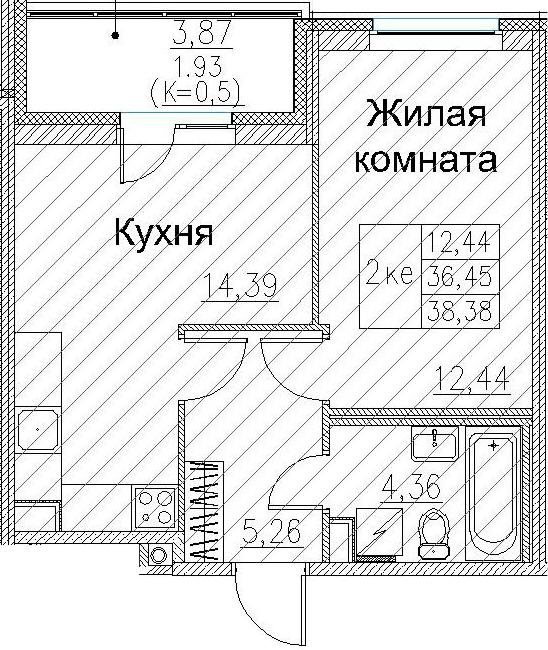 2Е-к.кв, 38.38 м², 2 этаж