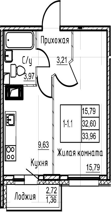1-комнатная, 33.96 м²– 2