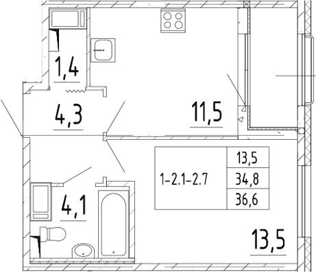 1-комнатная, 36.6 м²– 2